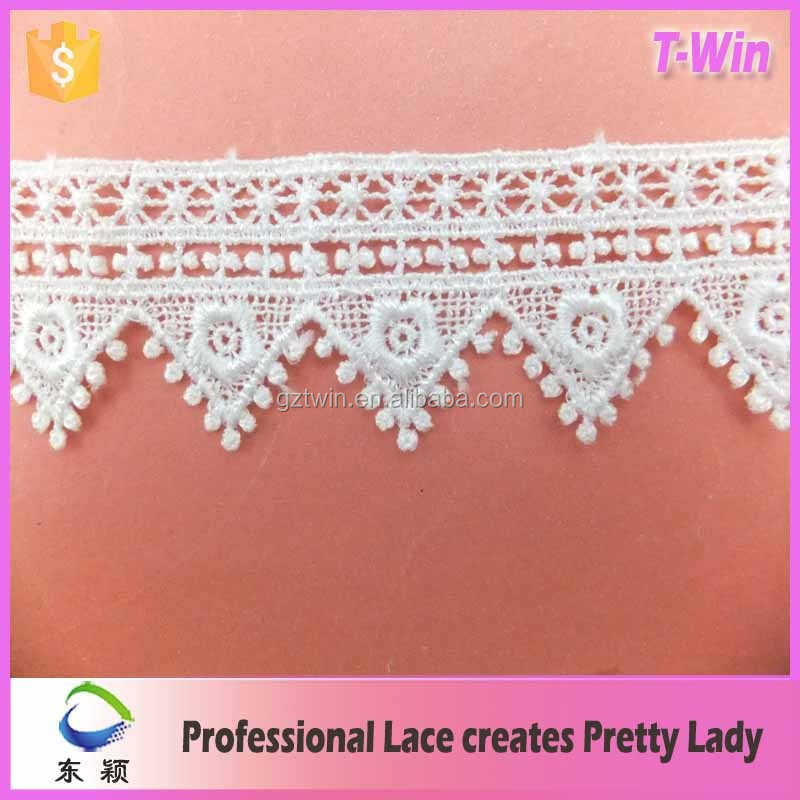 Bridal lace dress making fabric white ageometry triangle polyester lace trim for bulk sale