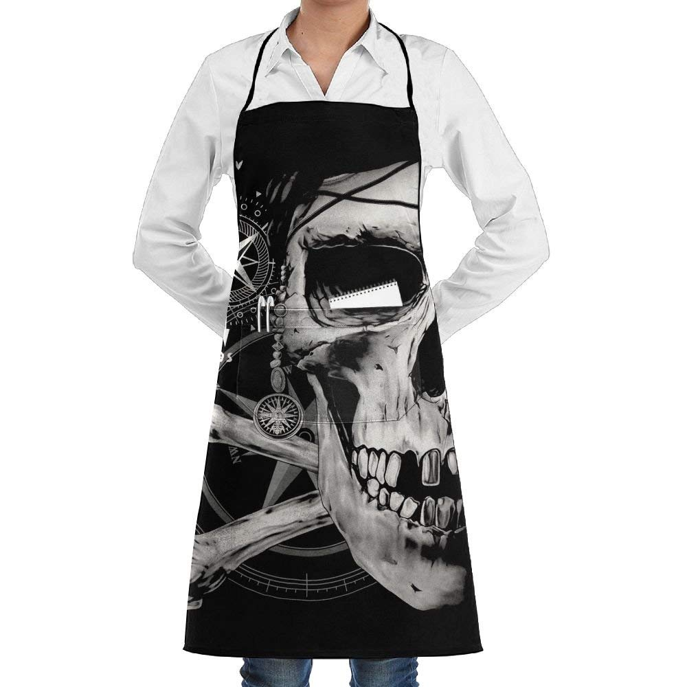Unisex Adjustable Full Length Bib Apron With Pockets Pirate And Skull Kitchen Apron For Home Chefs Cooking BBQ Grilling Baking