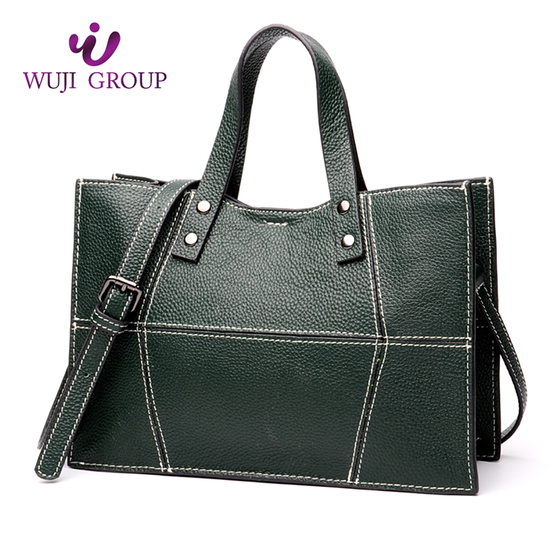 Delicate texture full grain geometric <strong>shoulder</strong> tote leather business ladies handbag