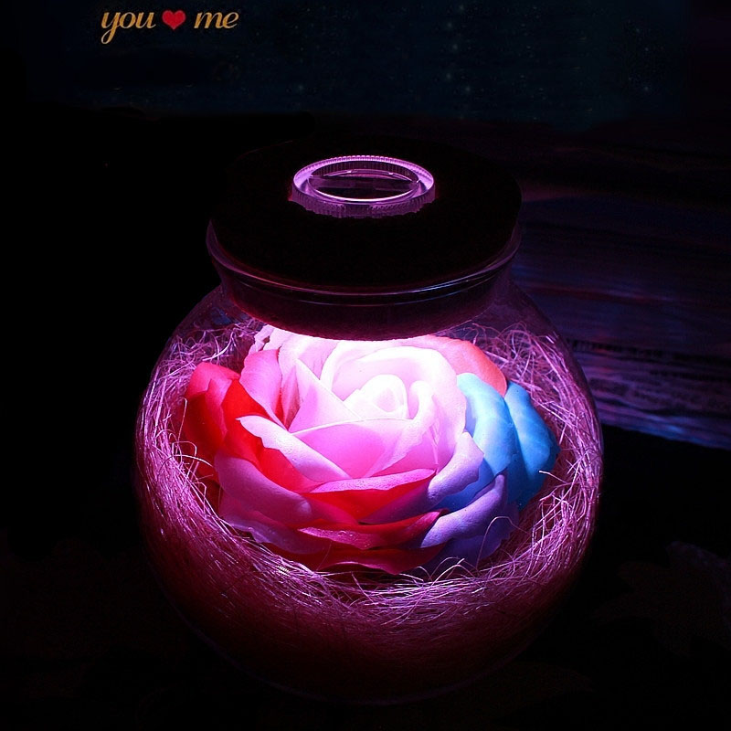 Led Romantic Rose Flower Night Light Lucky Bottle RGB Dimmer Lamp With 16 Color Remote Holiday Gift For Lover Girl Bedroom Decor (25)