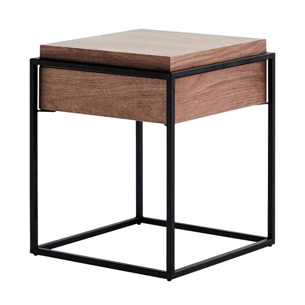Coffee Tables Dining Table Computer Table Wrought Iron Tea Table Corner Bedside Table Living Room Side Table (Color : Beige, Size : 434352cm)