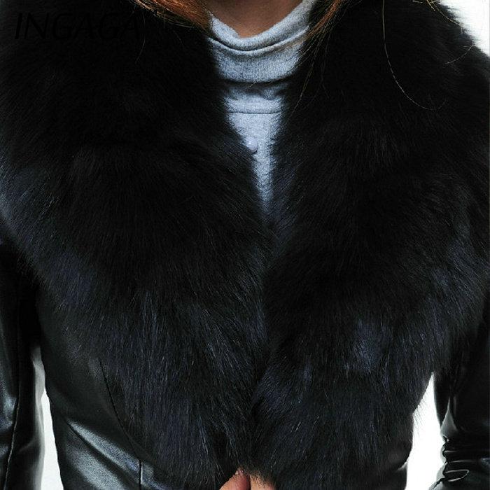 Ingaga новый 2015 зимнее пальто женщин кожаная куртка Jaqueta де Couro Feminina средней длины Большой размер высокое качество верхняя одежда