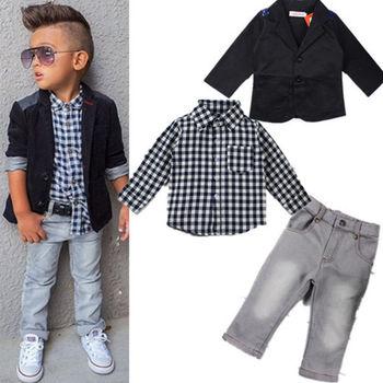 c9f70545b5 Factory 3pcs Kids Baby Boys Gentleman Coat+shirt+denim Pants2019 New  Children Clothes Baby Boys Fashion Wear For 2-7 T - Buy 3 Pcs Kids  Clothing,2019 ...