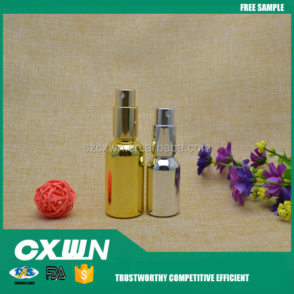 30ml 15ml electroplate gold glass dropper bottle with pump spray for perfume 15ml gold glass bottles