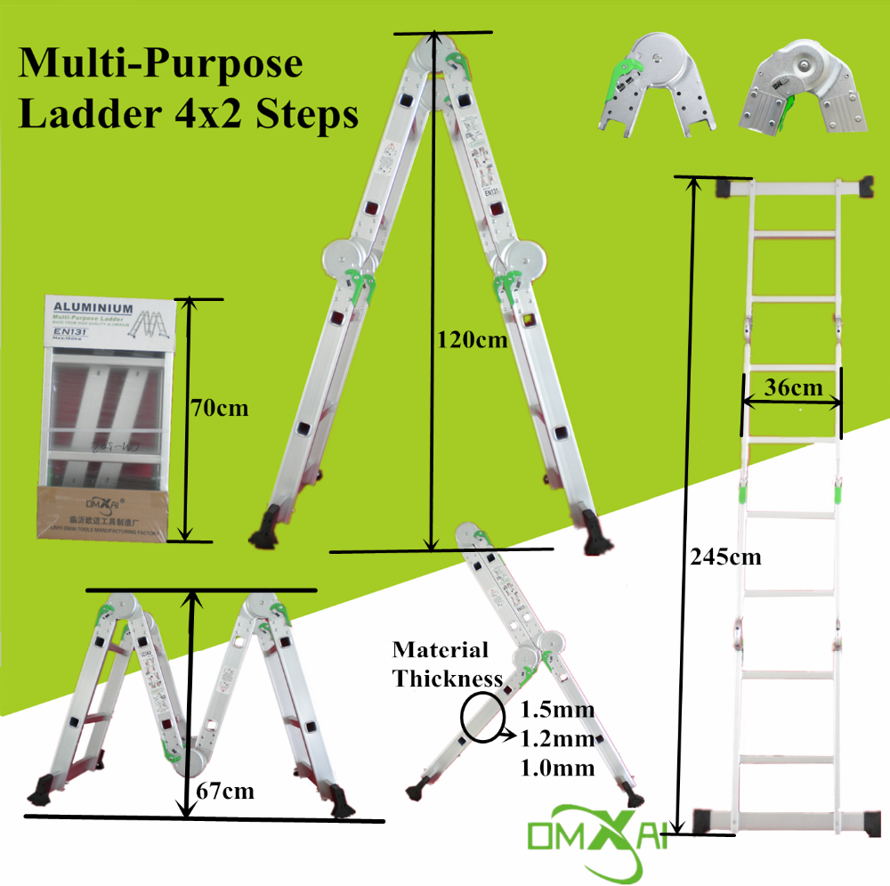 13 in 1 multipurpose accordion magic aluminum step ladder with large hinge 2x4 steps 2.5 meter