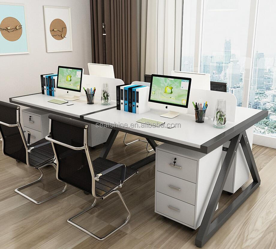 Modern Simple fashion design Wooden & Metal stents office desk with screen