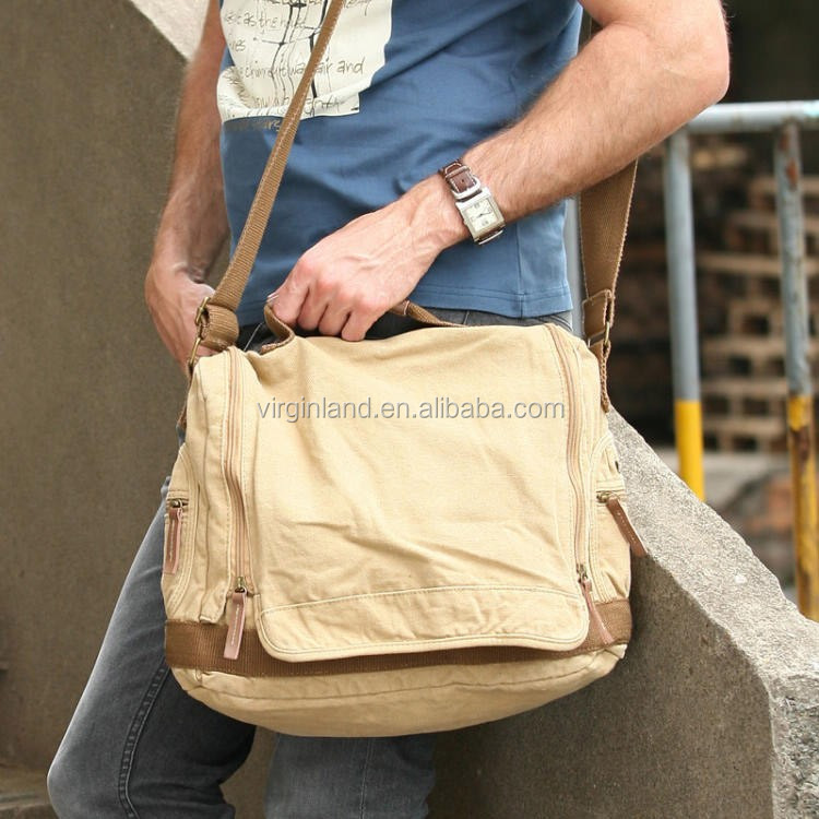 1212 High Quality Sporty Khaki Mens Canvas Satchel Bags Leather ...