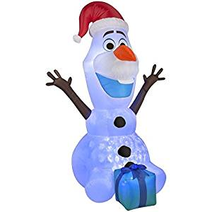 Gemmy Airblown Inflatable Kaleidoscope Olaf the Snowman Wearing Santa Hat and Holding a Present - Christmas Yard Prop Decorations, 6-foot Tall