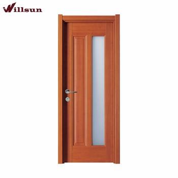 Diseño Común De Panel Plano Interior Puertas De Madera Con Vidrio