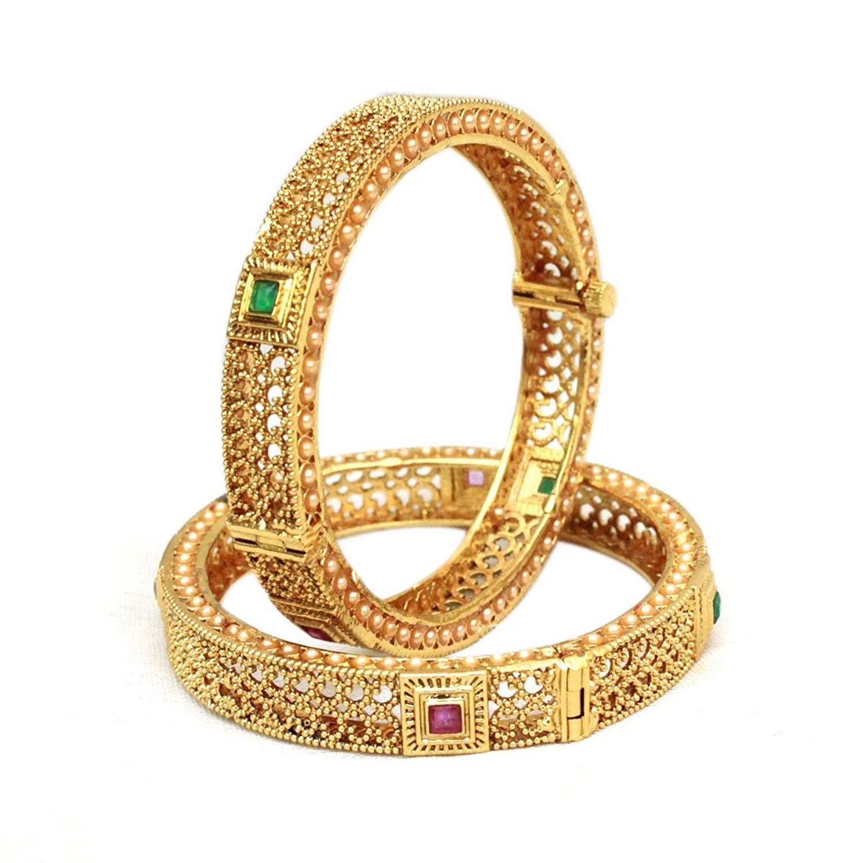 Ratna Indian Bollywood Crystal American Diamond Designer Gold Tone Bangles Traditional Wedding Jewelry