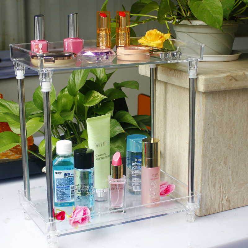 plastic cosmetic makeup display 2 tier clear acrylic trays for bathroom counter organizer and shelf ideas, shower storage