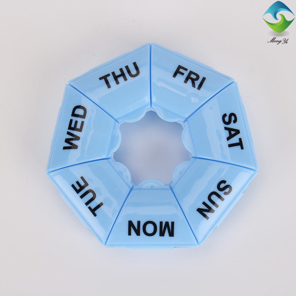 7 compartments weekly portable round plastic pill box 1 times daily