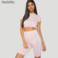 Hot Sale Sexy Womens Tops Pant Short Sleeve Shirts Sport Set