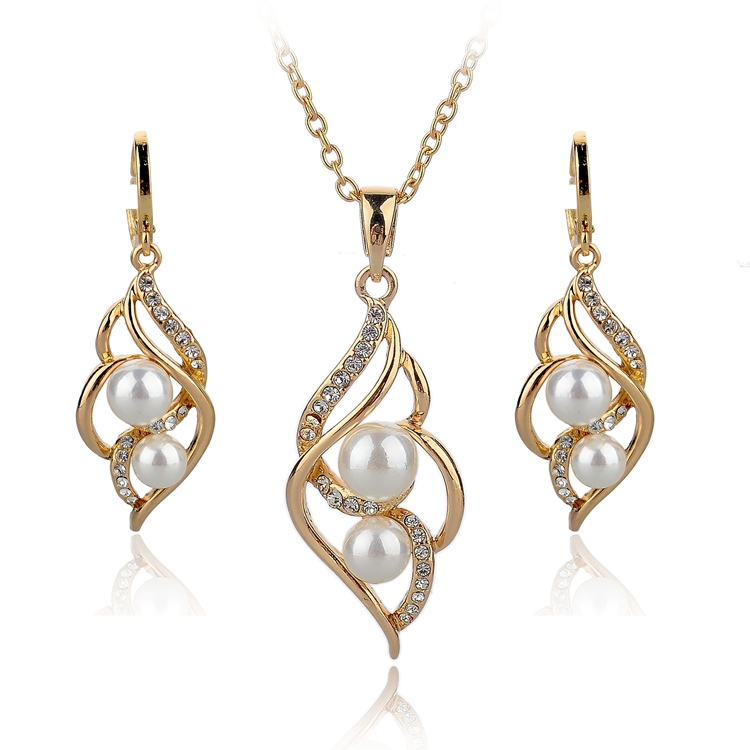 2015 Fashion Imitation Gold Pearl Beads 18k Gold Jewelry <strong>set</strong>
