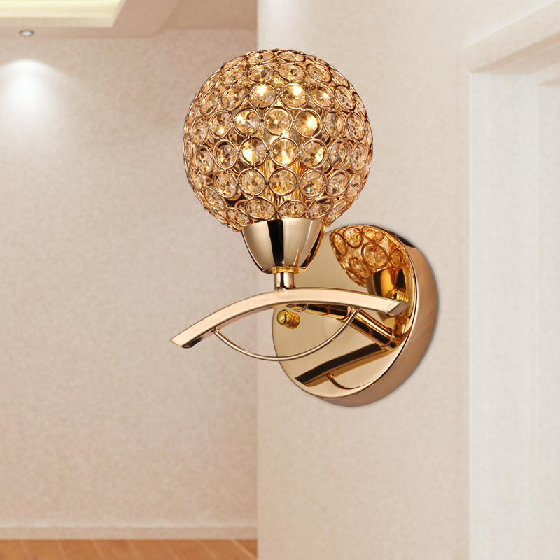 2015 brief modern single crystal wall sconce golden wall lamp living room stair light wall. Black Bedroom Furniture Sets. Home Design Ideas