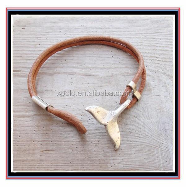 Fashion Whale Tail Bracelet Nautical Beach Jewelry Leather And Metal