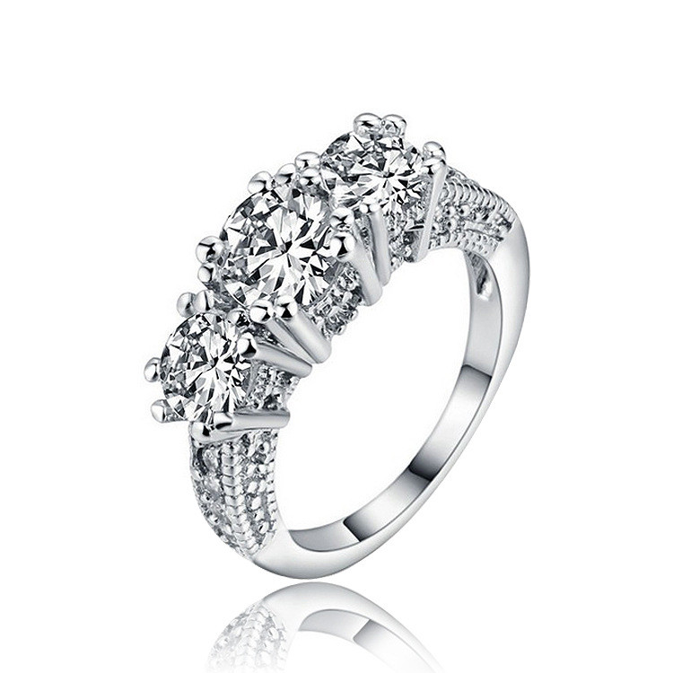 18K White Gold Plated AAA Cubic Zircon Three Stone CZ Diamond Engagement Ring