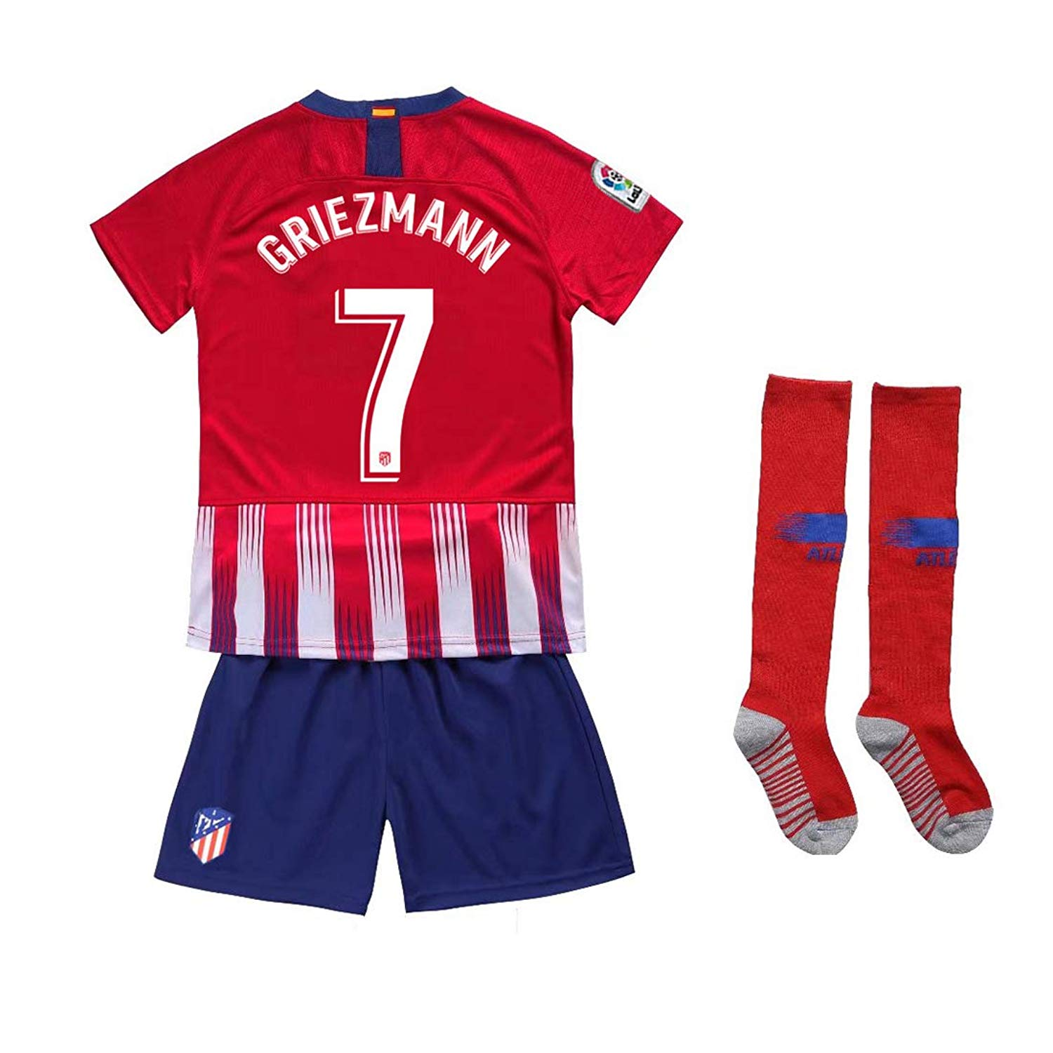 88451d2dc Get Quotations · Kaner Mongkok 7 Griezmann New 18 19 Atletico Madrid  Youths Kids Home Soccer Jersey