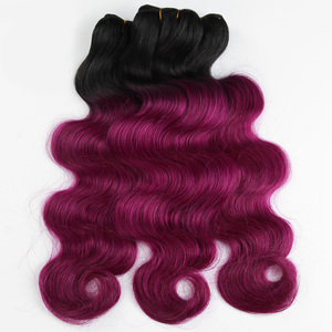 Wholesale 1b rose red human hair bundles body wave ombre black to rose red human hair weaving