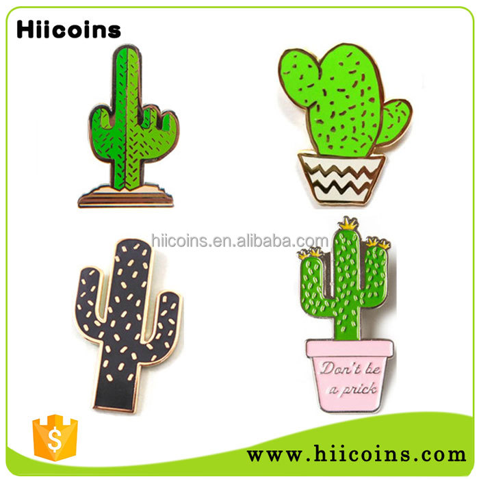 Wholesale Custom OEM Metal Hard enamel Cactus Lapel Pin Badge