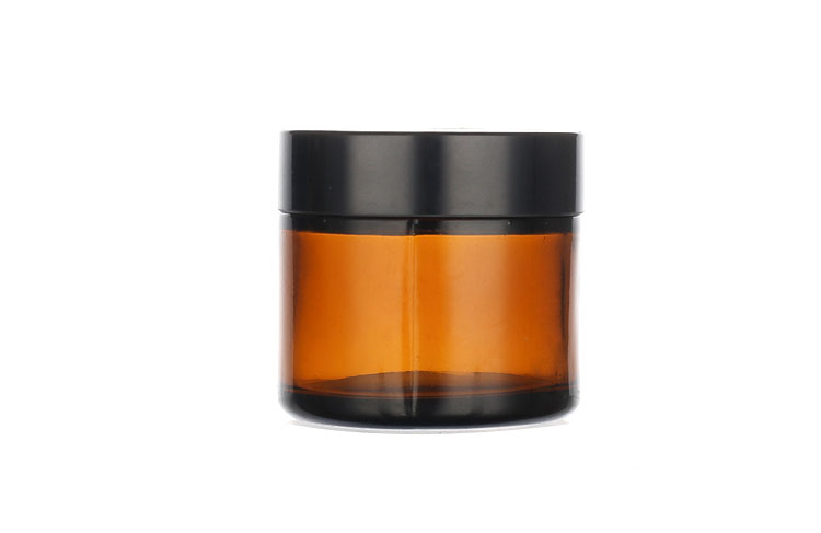 50 ml luxury customized black glass cream jar for cosmetic packaging