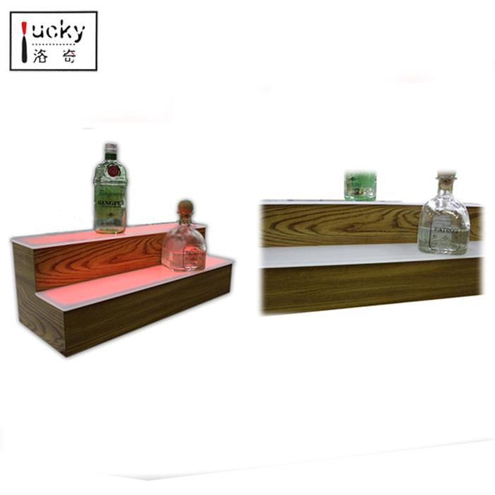 2 Step Led Lighted Bar Shelves With Led / 3 Tier Acrylic Shelf Liquor  Display / The Two Sided Island Liquor Bottle Shelves - Buy Decorative  Liquor