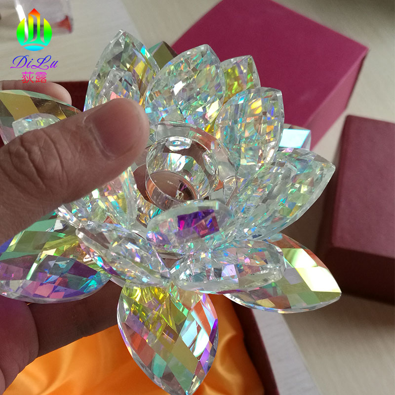 Hot Sale 80mm Candle Stand Decoration Colorful  K9 Crystal Lotus Flower Diffuser Candle Holder