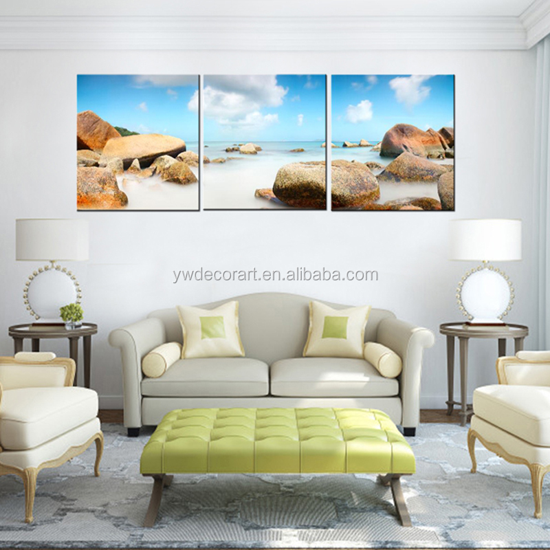 Canvas Printings stone cloud sea Landscape 3 Piece Modern Style Cheap Pictures Decorative Wall Art No Frame Prints Gift