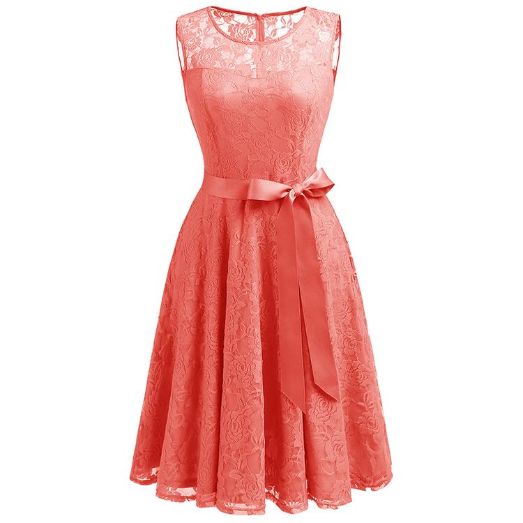 Venta Al Por Mayor Vestido De Noche Color Coral Compre