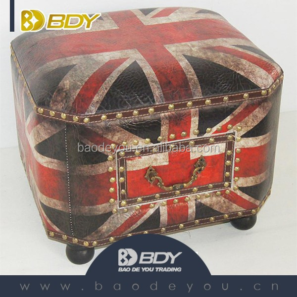 Union Jack pattern Wooden ottoman Stool home chair