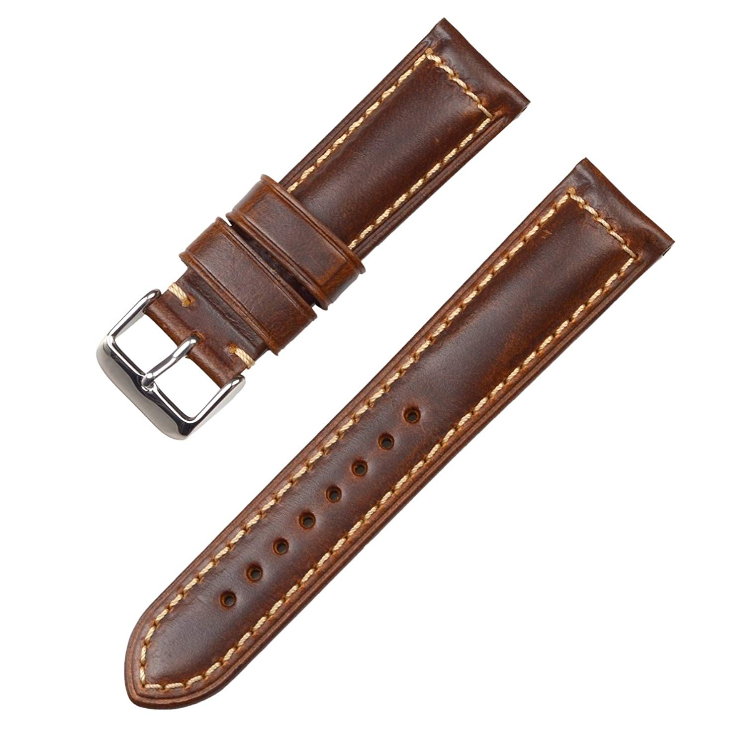 Genuine Leather Watchband, EACHE Oil Waxed Genuine Leather Watchband Vintage Style 6colors 18mm 20mm 22mm 24mm 26mm Black Buckle Silver Buckle