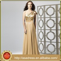 BD92 Wholesale Prom Dresses Chiffon One Shoulder Champagne and Gold Long Wedding Dresses for Bridesmaid Long