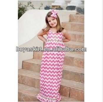 14d371d48718 OEM custom Wholesale Hot Sale Summer cotton sleeveless fashion design small  girls chevron maxi dress