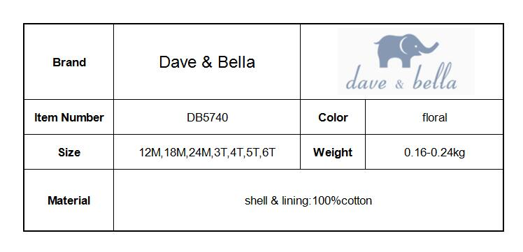 DB5740 dave bella baby girl lolita dress stylish printed peter pan collar dress toddler children dress