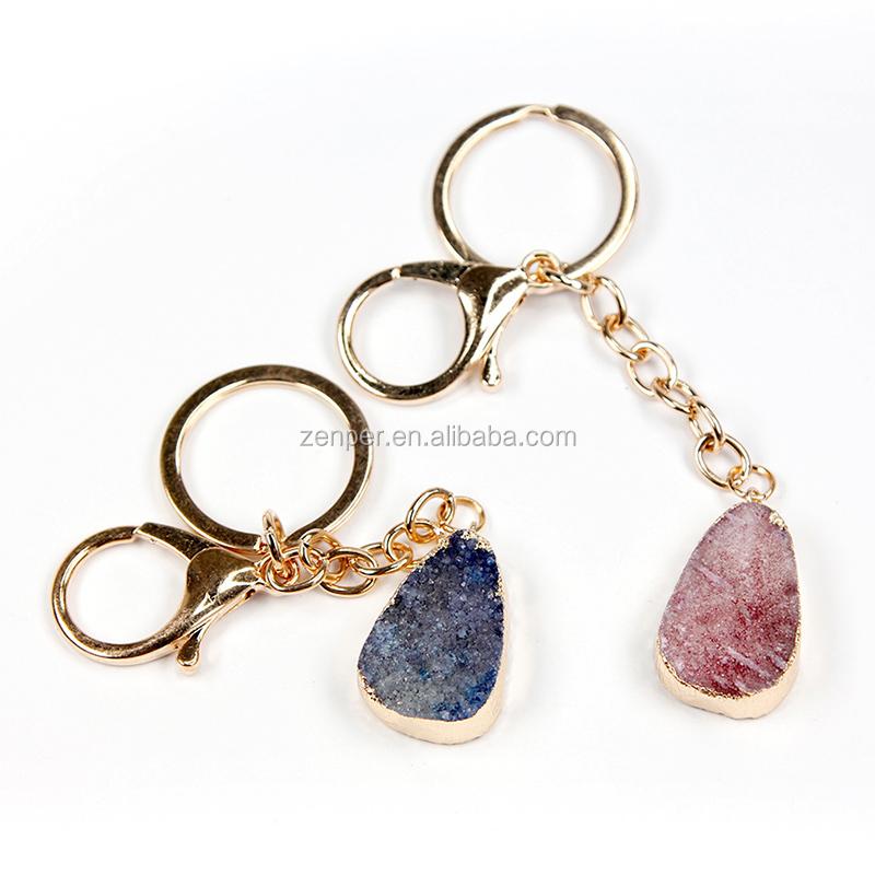 แฟชั่นบิ๊กหินแหวนทองรักษาคริสตัลจี้พวงกุญแจสำหรับขาย