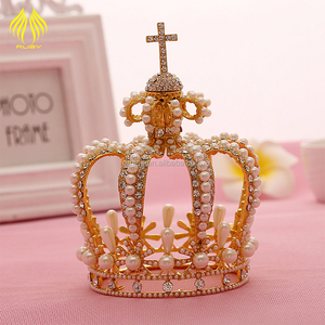 Women Hair Accessories Fashion Jewelry Design Rhinestones Custom gold Round Tall Pageant Crown Tiara bridal headpiece