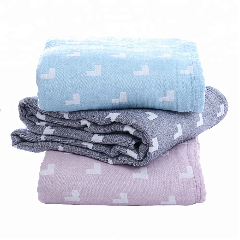 wholesale custom king size 100% cotton gauze outdoor quilt blankets
