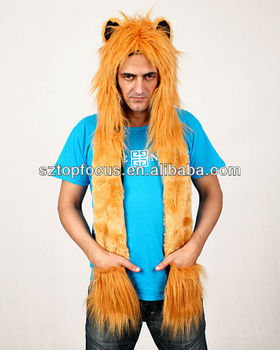 Cute Goden Lion Hat With Pockets Long Scarf Gloves Paws - Buy Cute ... 56520eb49b48