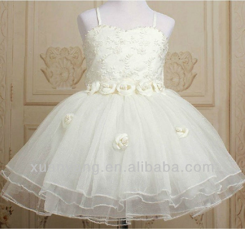 girl dress with Pearl 2~11T bridesmaid wedding wear kid Princess TuTu wear/costume child party frocks/ball gown