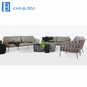 Nice design outdoor rope sofa set with metal frame for garden sofa