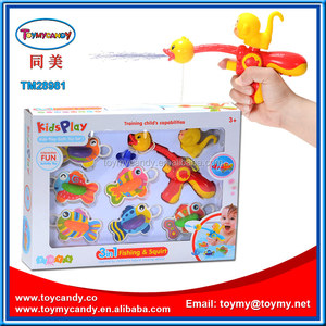 KIDS TOYS 2016 SUMMER ACTIVITY CARTOON DUCK & MONKEY WATER SPRAY FISHING GAMES TOY SET FISH PLAYSET FOR SALE