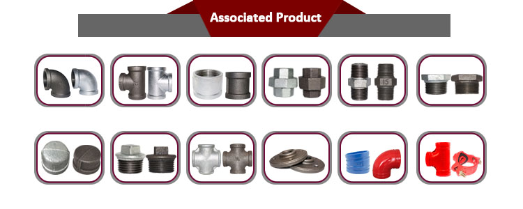 Cast iron threaded malleable pipe fittings hot dipped male hexagon bushing galvanized end cap for water supply