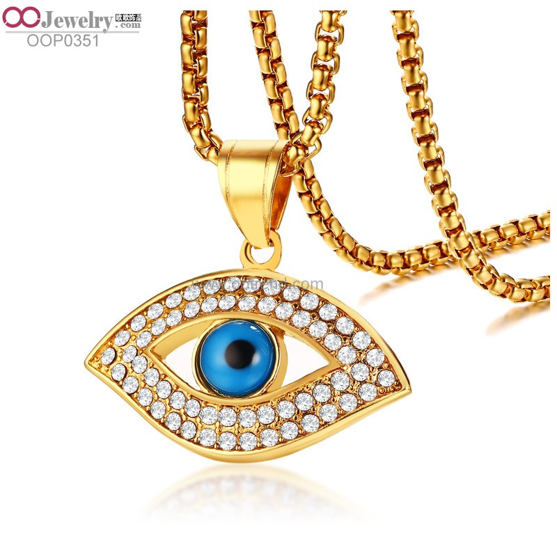 2018 new design 18K golden plated stainless steel 316L evil eye charm pendant necklace