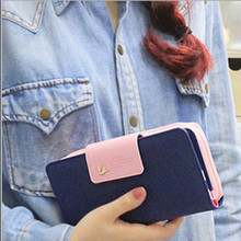 2015 Classic Cute Women's Wallet Button Leather Faux Clutch Lady Purse Long Handbag High Quality Candy Color Card Holder N819