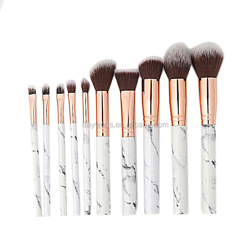 2019 Neue Ankunft Make-Up Pinsel Set 10 stücke Professionelle Marmor Make-Up Pinsel mit Erröten Foundation Pinsel