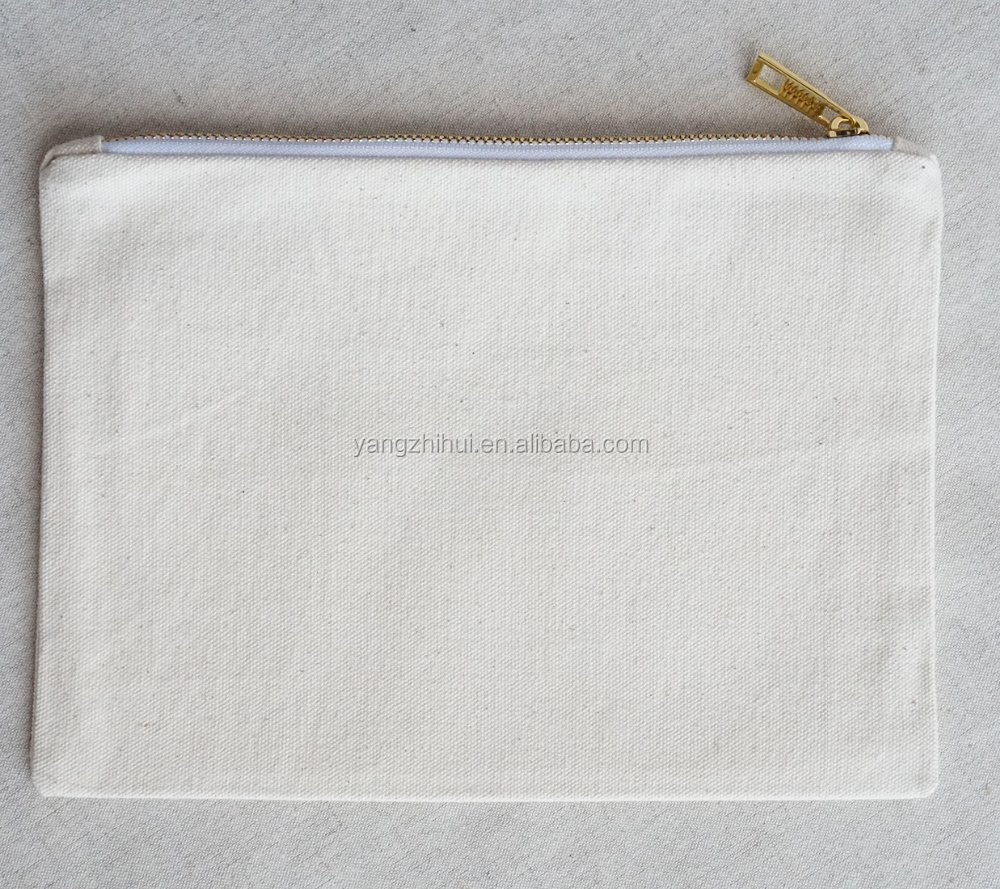 Natural cotton blank plain DIY paint print makeup cosmetic zipper bags, Mobile phonne clutch bag pouch