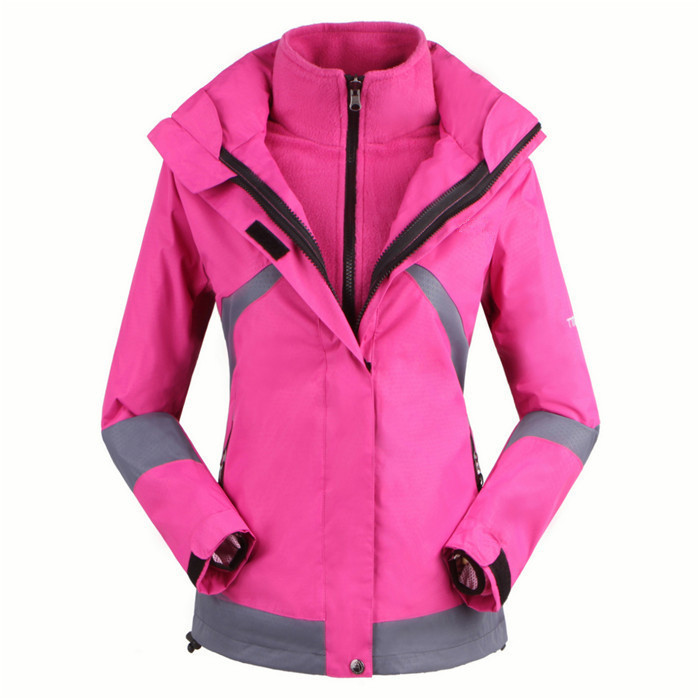 2015 High Quality winter Outdoor outwear waterproof warm for Women's Female Double Layer 2in1 skiing Climbing coats jackets