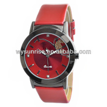 genuine fashion vogue females red leather japan quartz watch