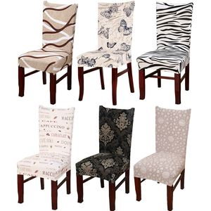 Minimalist Geometry Floral Spandex Elastic Dining Stretch Chair Cover Removable Anti-dirty Party Hotel Banquet Chair Seat Case