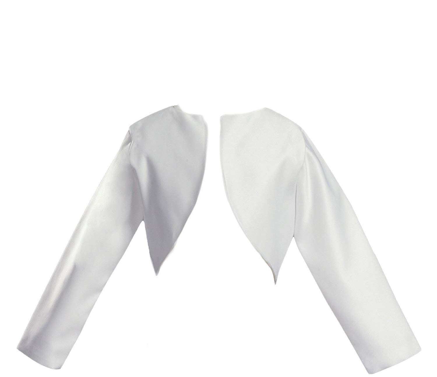 2cff86e4f66f1 Get Quotations · Girl s White Long Sleeve Satin Bolero Jacket - Size 6